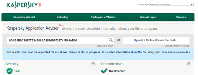 NNT Change Tracker using Kaspersky Whitelist