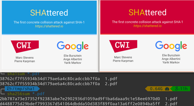 Shattered Project demonstrates how two different files CAN have the same SHA1 hash value